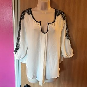 Pretty white chiffon blouse with black lace